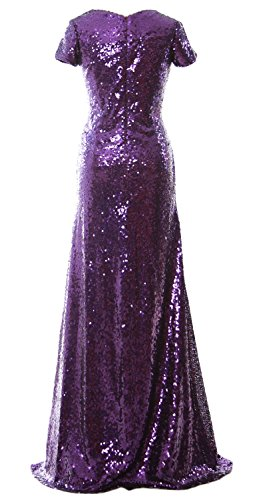 MACloth Mermaid Cap Sleeve Sequin Long Bridesmaid Dress Formal Evening Gown Negro