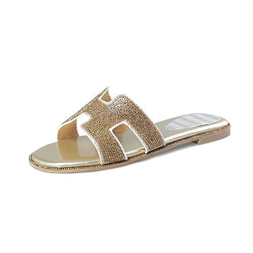 Chaussures Grande Femmes Toe Open Mot Flop Golden Trailer Rhinestone Sandales Flip Télévision Taille frZOfw