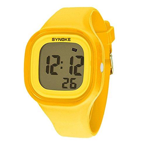 Watch Yellow Girls (Sayeah Mens Womens Teens LED Digital Unusual Sports Outdoor Children's Wrist Dress Waterproof Watch Student Sport Swimming Fashion Wristwatches Stopwatch for Boys and Girls (YELLOW))
