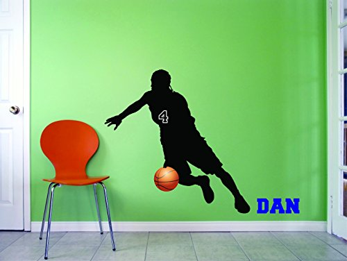 PERSONALIZED Name & Team Number Custom Vinyl Wall Decal Sticker Basketball Position Shooting Guard Hoop Offense Defense 14x28 Inches