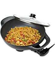 Brentwood Appliances SK-69BK 13-Inch Non-Stick Flat-Bottom Electric Wok Skillet with Vented Glass Lid, black, normal