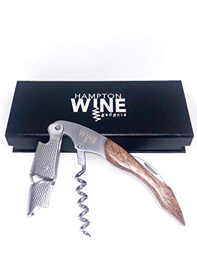 Premium Waiter's Corkscrew & Wine Opener With a Comfortable Rosewood Handle - Wine and Beer Bottle Opener For Bartender's and Waiter's - Includes Magnetic Gift Box by Hampton Wine ()