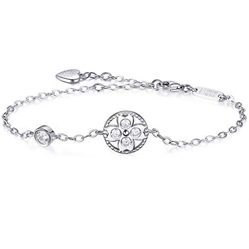 Billie Bijoux Womens 925 Sterling Silver Infinity Endless Love Symbol Charm Adjustable Bracelet White Gold Plated Gift for Mothers Day (four leaf clover)