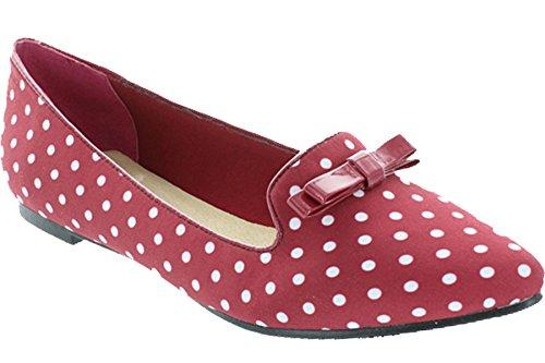 Restringido Para Mujer Slip On Pointed Toe Polka Dot Bow Loafer Flat Wine