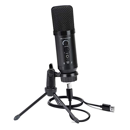 USB Microphone, PC Microphone Plug & Play with Tripod Stand, Condenser Recording Microphone on PC, Laptop, for YouTube/Skype/Vocal Recording/Podcasting/Streaming