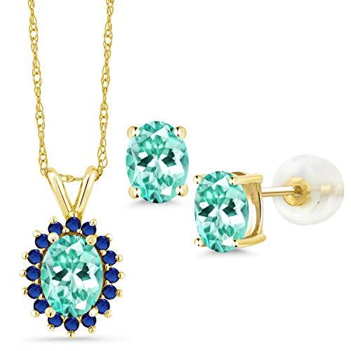 Gem Stone King 2.57 Ct Oval Blue Apatite 14K Yellow Gold Pendant Earrings Set