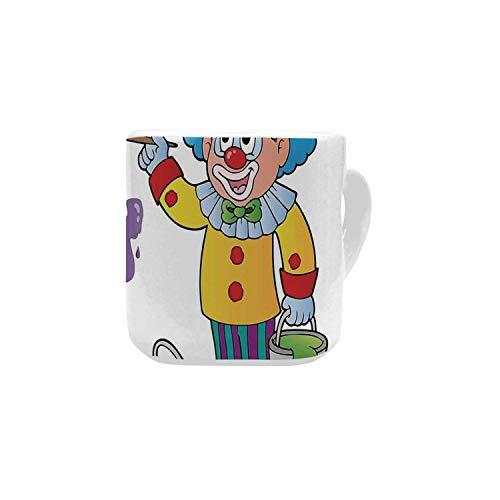 Birthday Decorations for Kids White Heart Shaped Mug,Happy Clown for Party with Colorful Paint Drawing Buckets for Home,2.56