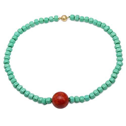 JYX Turquoise Necklace 6.5×11mm Green Irregular Turquoise Beads dotted a Red 25mm Round Coral Pendant Single-strand Necklace AAA Handmade Gemstone