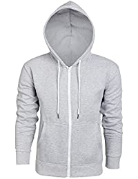 Mens Jacket Casual Slim Fit Long Sleeve Zip-up Hoodie with Pocket jacket