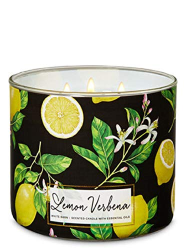 Bath and Body Works White Barn Lemon Verbena Candle 3 Wick 14.5 Ounce Black - Candle Lemon Verbena