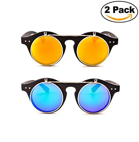 Women Mens Retro Style Flip Up Round Steampunk Sunglasses - 4