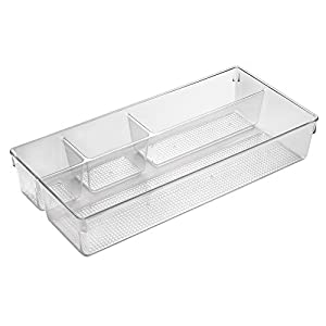 InterDesign Clarity Divided Cosmetic Organizer Tray for Vanity Cabinet to Hold Makeup, Beauty Products - Clear