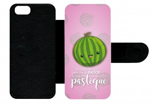 Custodia a libro per Apple iPhone 5Power prendere you ll End Up with the Pastque melone rosa pallido sfondo