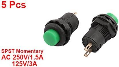 uxcell 押しボタンスイッチ プッシュボタンスイッチ ノーマルオープンモーメンタリ SPST AC250V/1.5A 125V/3A グリーンキャップ 5個入り