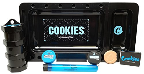 Bundle 6 Items - Cookies Rolling Tray Black, Mini Jars, Hydrostone, Silicone Containers and Doob Tube by Cookies Harvest Club