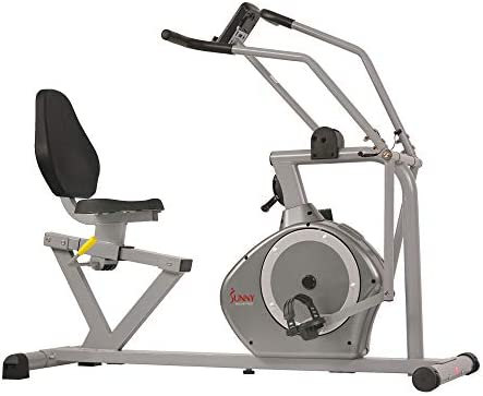 Sunny Health & Fitness Magnetic Recumbent Bike Exercise Bike, 350lb High Weight Capacity, Cross Training, Arm Exercisers, Monitor, Pulse Rate Monitoring - SF-RB4708 2