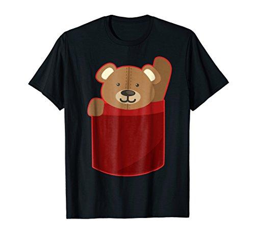 Cute Fluffy Teddy Bear in Big Pocket Waving T-Shirt