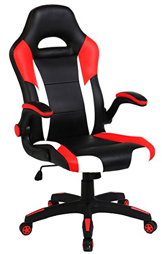 SEATZONE Racing Car Style Bucket Seat Gaming Chair, Curved High-Back Executive Swivel Office Leather Chair, Adjustable Computer Chair with Flip-Up Armrest (RedWhite) by SEATZONE