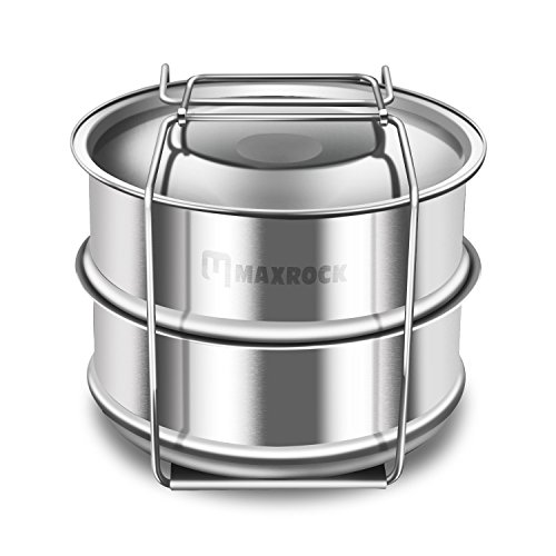 Maxrock Kitchen 2 Tier Stackable Stainless Steel Steamer IP Accessories for Pot in Pot Pressure Cooker-Fits 6, 8 Quart Instant Pot, 2 Tier Steamer Basket with Trivet