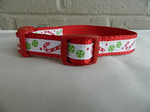 Schmoopsie Couture Christmas Mini Candy Canes Dog Collar (Small 5/8