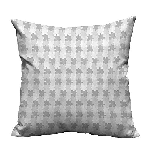 YouXianHome Throw Pillow Cover for Sofa Puzzle Inspired Fractal Lines Game Jigsaw Parts Leisure Hobby Activity Ctest Textile Crafts (Double-Sided Printing) 21.5x21.5 inch ()