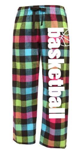 Basketball Drawstring Flannel Pants Adult Small Neon Plaid