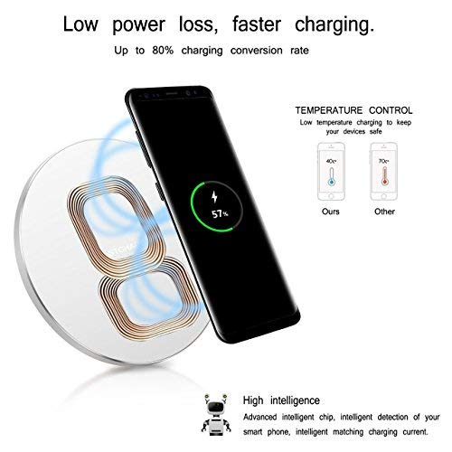 Fast Charger for Samsung Galaxy S8 edge - Wireless Charging Pad for Samsung Galaxy Note 8/S8/S8 Plus/S7/S7 Edge/S6/S6 Edge,Qi Standard Charger for iPhone X/iPhone 8/iPhone 8 Plus(Silver)