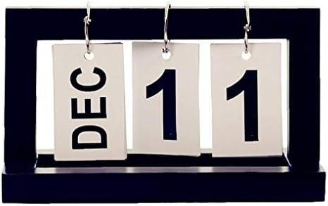 Lankater 2020 Tischkalender Seite Flip Kalender Flip Chart Ewiger Kalender Mit Kreativ Retro Holz Chic Für Office Home Decoration (Schwarz)