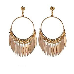 Women Vintage Boho Gold Meatal Tassel Stud Earrings