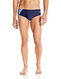 Speedo Men\'s PowerFLEX Eco Revolve Splice Brief Swimsuit, Navy, 32