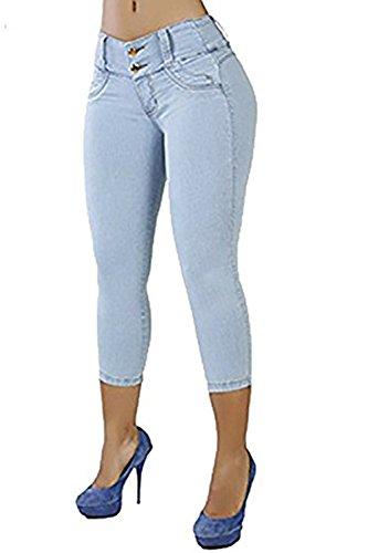 (CNJFJ Womens Skinny Capri Jeans Trendy Brazilian-Style Butt Lift Stretchy Pencil Denim Pants Light Blue)