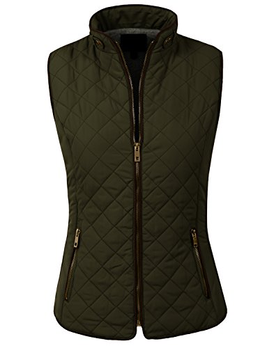 NE PEOPLE Womens Light Weight Wool Lining Quilted Zip Vest-NEWOLIVE-L