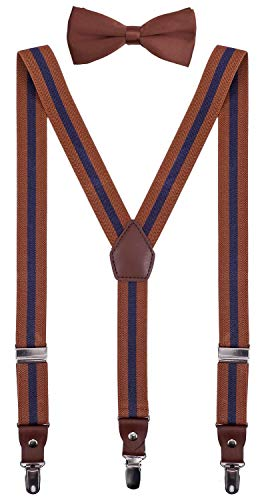 (ORSKY Little Boys Adjustable Suspenders and Pre Tied Bow Ties Set 30'' Brown Navy Stripe )