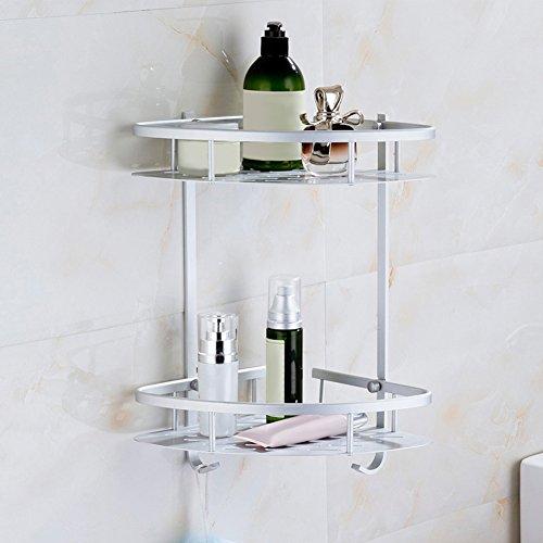 YOEDAF - Estantería esquinera de baño, Doble Piso, Aluminio, Soporte de Pared, Soporte de Almacenamiento de Ducha, con...