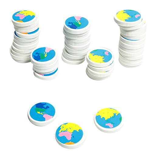 Globe Earth Erasers 48 Pcs product image