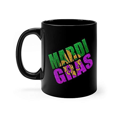 Fun Mardi Gras Fleur-de-lis Mug 11 Ounce Coffee Mug, 11oz Ceramic Coffee Cups, Funny Gift Mug, Unique Novelty Gift Tea Mugs, Funny Mug For Men, Women, Him, Her ()