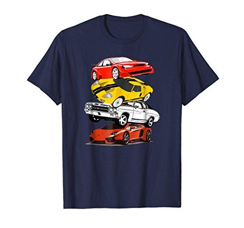 (Mens Funny Classic Cars Stacked T-Shirt For Men Boys Girls Medium Navy)