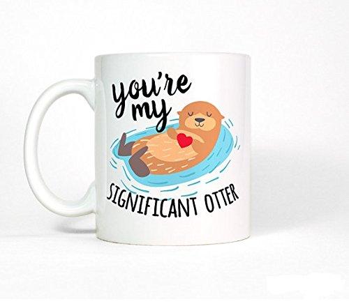 Cute Anniversary Gift for Boyfriend-Gift Otter Mug-Anniversary Gift for Men-Mens Gift-for Husband-Gift for Him-Coffee Mug-Girlfriend Gift