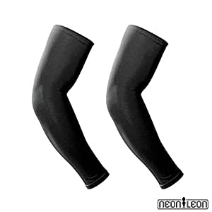 Compression arm sleeves by Neon Leon. Use for tattoo cover up sleeves, sports, cycling, golf, basketball, fishing, sun protection, UV and cooling for comfort. 1 pair of arm warmers for men or women. (Black, S/M/L)