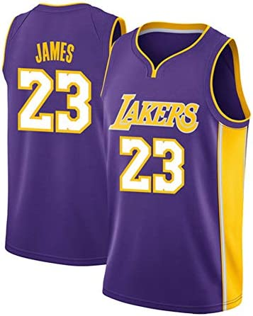 23#レイカーズジェームスジャージ、男子ファンバスケットボールノースリーブTシャツ、優れた汗吸収-purple-2-XXL