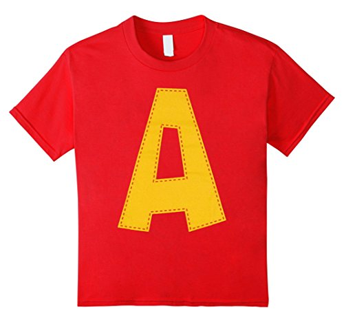 Kids Cute Stitched Letter A T-shirt | Halloween Matching Costume 12 (Cool Costumes For Work)