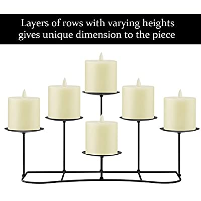 smtyle 6 Candle Holder Stand Centerpieces Set Decor for Table or Fireplace Candelabra for Flameless or Wax Pillar Decoration on Coffee Desk/Floor