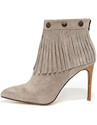 Very Volatile Gray Suede Fringe Bootie with Stud Conchos
