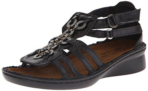 Sandal Black Women's Naot Madras Trovador Leather Wedge qwH117aptI