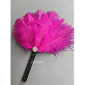 "LISALI 8"" Ostrich Feather Bouquet, Rose Red Feather MINI Fan, Bride Feather Fan, 20s Great Gatsby Vintage Wedding Bouquet 78"