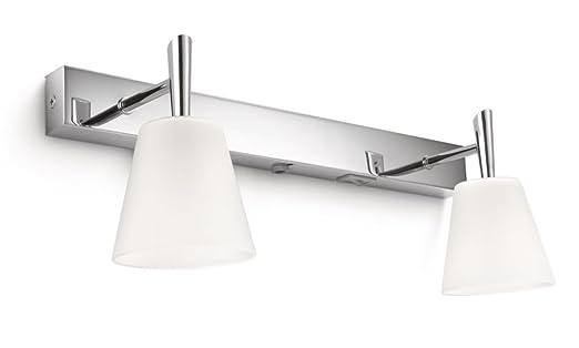 philips hydrate barra faretti bagno 2 luci alogene cromo con vetro lampadina risparmio