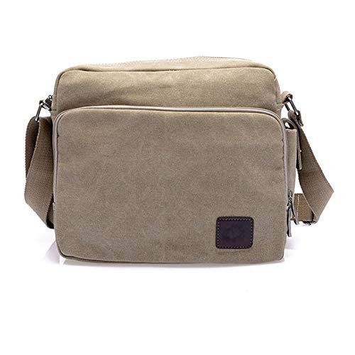 Canvas Multifunction Messenger Shoulder Bags Solid Briefcases Suitcase Card Pocket For Men Women Office Outdoor Travel,Khaki