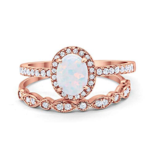 Blue Apple Co. Halo 2-Piece Art Deco Wedding Engagement Bridal Set Ring Band Oval Round Rose Tone, Lab White Opal Cubic Zirconia 925 Sterling Silver Size-5 ()