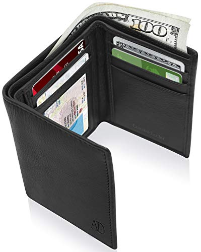 Genuine Leather Wallets For Men - Trifold Mens Wallet With ID Window RFID Blocking,Smooth -