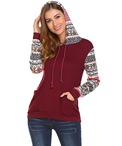 Women Christmas Reindeer Snowflake Print Long Sleeve Sweatshirt Pullover Hoodies (Wine Red #1, M) (Snowflake Hoodie Sweatshirt)